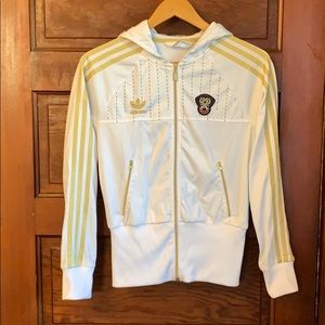 preview of the sale of shoes cheap price Women White And Gold Adidas Jacket on Poshmark